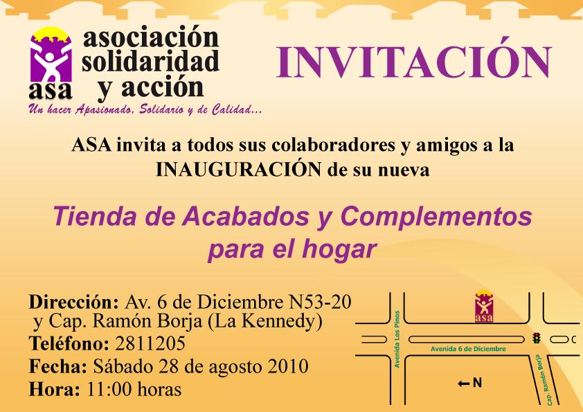 Asociaci n solidaridad y acci n asa inaugura su nueva for Complementos para el hogar
